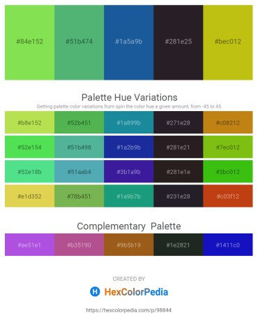 Palette image download - Yellow Green – Medium Sea Green – Sandy Brown – Black – Goldenrod