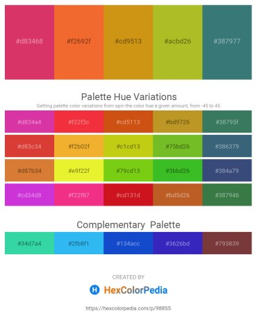 Palette image download - Indian Red – Tomato – Dark Goldenrod – Yellow Green – Sea Green