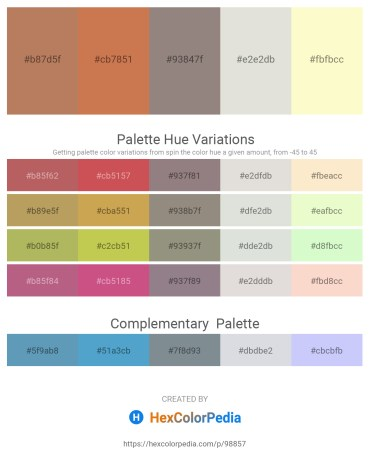 Palette image download - Indian Red – Peru – Gray – Gainsboro – Light Goldenrod Yellow