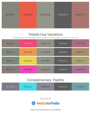 Palette image download - Gray – Tomato – Gray – Dim Gray – Rosy Brown