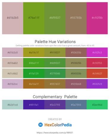 Palette image download - Thistle – Olive Drab – Olive Drab – Gray – Medium Violet Red