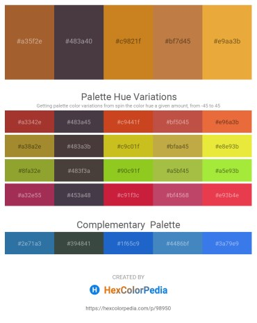 Palette image download - Sienna – Dim Gray – Chocolate – Peru – Goldenrod