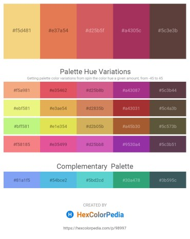 Palette image download - Khaki – Dark Salmon – Indian Red – Brown – Dim Gray