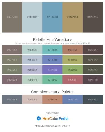 Palette image download - Gray – Light Steel Blue – Cadet Blue – Dark Khaki – Dim Gray