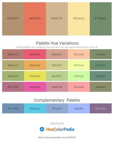 Palette image download - Rosy Brown – Dark Salmon – Tan – Navajo White – Dark Sea Green