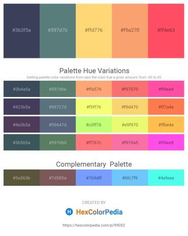 Palette image download - Dark Slate Gray – Slate Gray – Thistle – Sandy Brown – Tomato