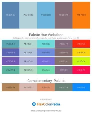 Palette image download - Steel Blue – Light Steel Blue – Medium Turquoise – Gray – Dark Orange