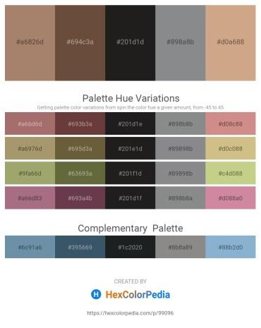 Palette image download - Rosy Brown – Pale Goldenrod – Black – Slate Gray – Tan