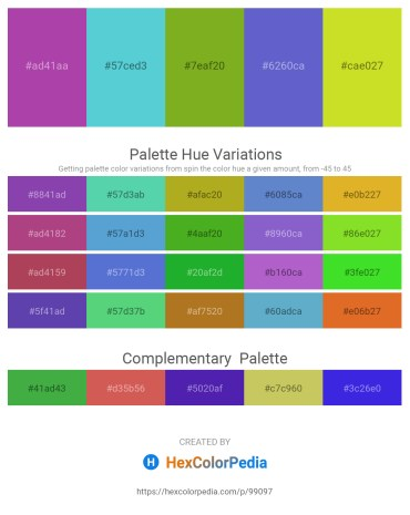 Palette image download - Orchid – Medium Turquoise – Olive Drab – Slate Blue – Brown