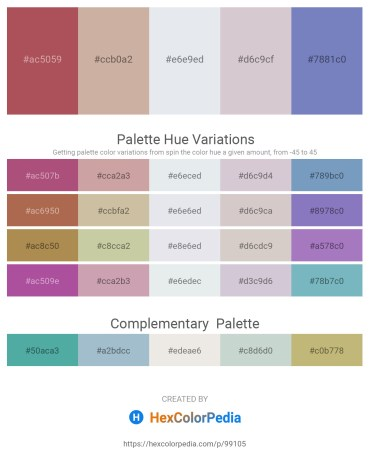 Palette image download - Indian Red – Rosy Brown – Light Steel Blue – Thistle – Steel Blue