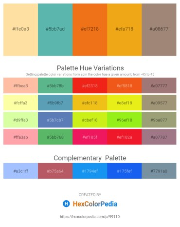 Palette image download - Navajo White – Medium Aquamarine – Chocolate – Goldenrod – Rosy Brown