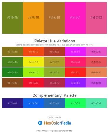 Palette image download - Olive Drab – Orange – Sienna – Deep Pink – Light Coral