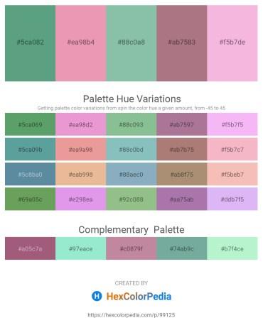 Palette image download - Cadet Blue – Pale Violet Red – Dark Sea Green – Rosy Brown – Violet