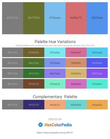 Palette image download - Gray – Dark Olive Green – Sky Blue – Indian Red – Cornflower Blue