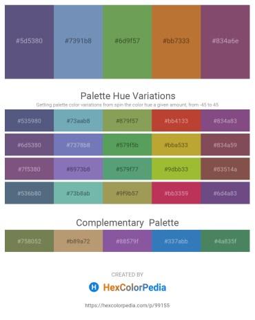 Palette image download - Dark Slate Blue – Cadet Blue – Dark Sea Green – Peru – Gray