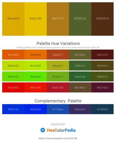 Palette image download - Orange – Gold – Dark Goldenrod – Dark Olive Green – Saddle Brown