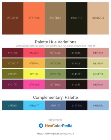 Palette image download - Sienna – Coral – Saddle Brown – Black – Burlywood