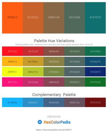 Palette image download - Orange Red – Chocolate – Light Salmon – Dark Slate Gray – Teal