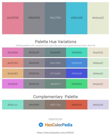 Palette image download - Pale Violet Red – Light Slate Gray – Slate Gray – Medium Turquoise – Beige