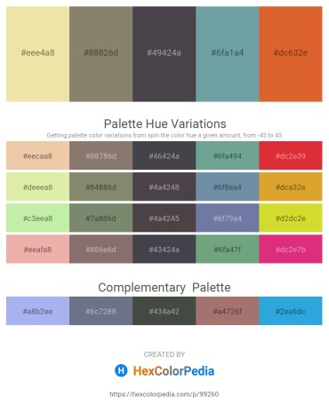 Palette image download - Pale Goldenrod – Gray – Dark Olive Green – Cadet Blue – Chocolate