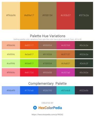 Palette image download - Khaki – Goldenrod – Dark Khaki – Brown – Dark Slate Gray
