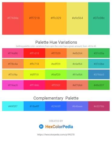 Palette image download - Tomato – Dark Orange – Gold – Khaki – Medium Sea Green