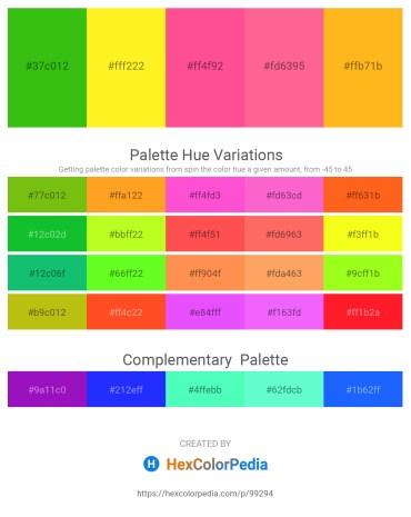 Palette image download - Lime Green – Yellow – Hot Pink – Hot Pink – Orange