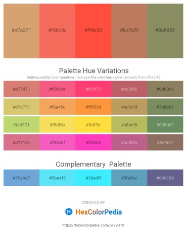 Palette image download - Burlywood – Salmon – Tomato – Indian Red – Gray