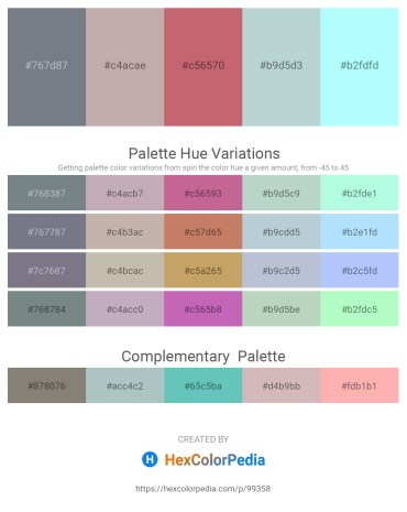 Palette image download - Slate Gray – Rosy Brown – Indian Red – Light Steel Blue – Light Cyan