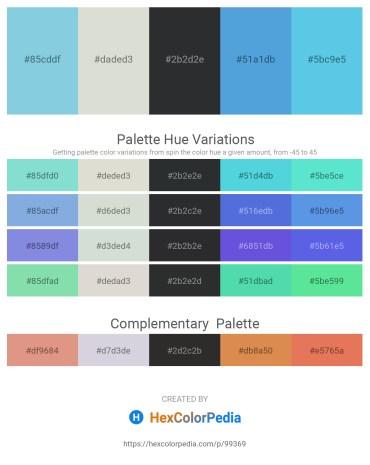 Palette image download - Sky Blue – Gainsboro – Dark Slate Gray – Medium Sea Green – Turquoise