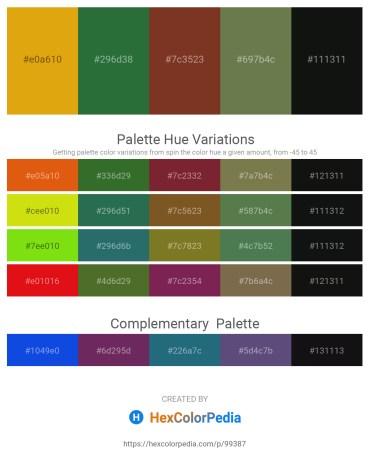 Palette image download - Goldenrod – Sea Green – Brown – Dark Olive Green – Black