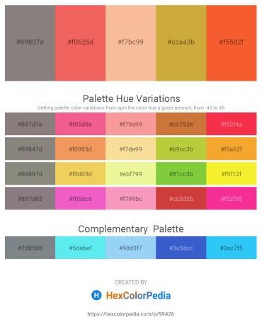 Palette image download - Gray – Light Coral – Wheat – Peru – Tomato