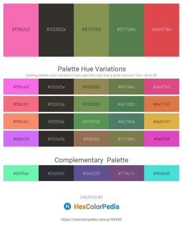 Palette image download - Hot Pink – Black – Dark Khaki – Dark Olive Green – Indian Red