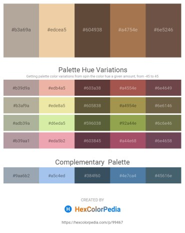 Palette image download - Rosy Brown – Pale Goldenrod – Rosy Brown – Lavender – Dim Gray