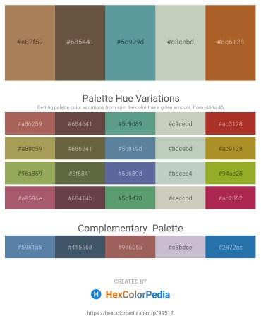 Palette image download - Dark Khaki – Burlywood – Cadet Blue – Dark Sea Green – Sienna