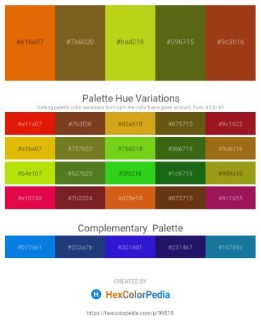 Palette image download - Dark Orange – Sienna – Dark Olive Green – Olive Drab – Saddle Brown