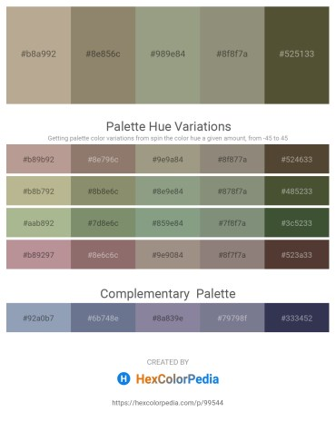 Palette image download - Rosy Brown – Gray – Dark Sea Green – Gray – Dark Olive Green