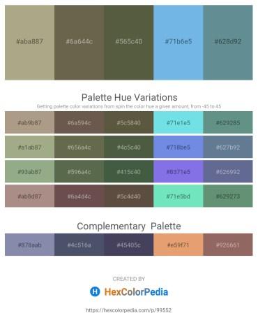 Palette image download - Dark Khaki – Dim Gray – Dark Olive Green – Sky Blue – Cadet Blue