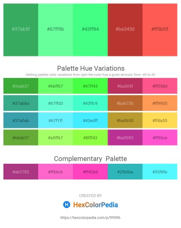 Palette image download - Medium Sea Green – Aquamarine – Spring Green – Brown – Tomato