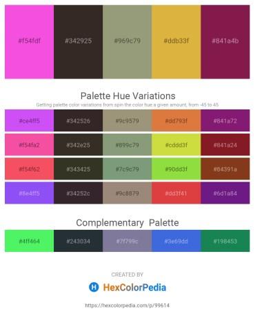 Palette image download - Hot Pink – Black – Dark Sea Green – Goldenrod – Brown