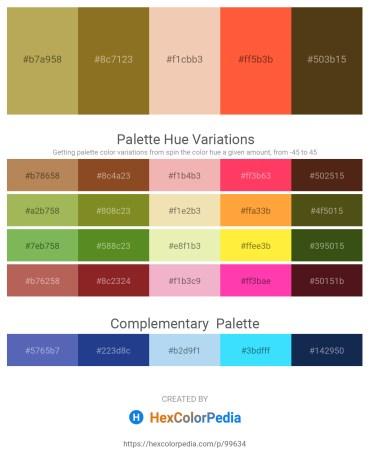 Palette image download - Dark Khaki – Thistle – Wheat – Tomato – Saddle Brown