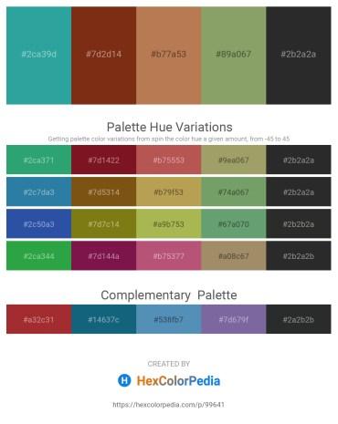 Palette image download - Light Sea Green – Saddle Brown – Indian Red – Dark Sea Green – Black