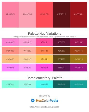 Palette image download - Hot Pink – Light Pink – Tomato – Steel Blue – Firebrick