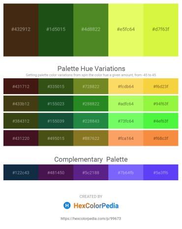 Palette image download - Saddle Brown – Dark Slate Blue – Olive Drab – Khaki – Green Yellow