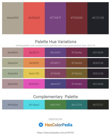 Palette image download - Rosy Brown – Indian Red – Dark Slate Blue – Brown – Gray