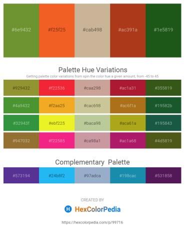 Palette image download - Olive Drab – Tomato – Tan – Firebrick – Forest Green