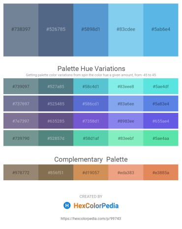 Palette image download - Light Slate Gray – Slate Gray – Yellow Green – Sky Blue – Cornflower Blue