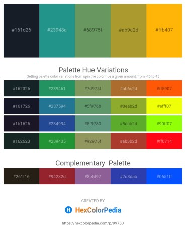 Palette image download - Dark Slate Gray – Light Sea Green – Dark Sea Green – Peru – Orange