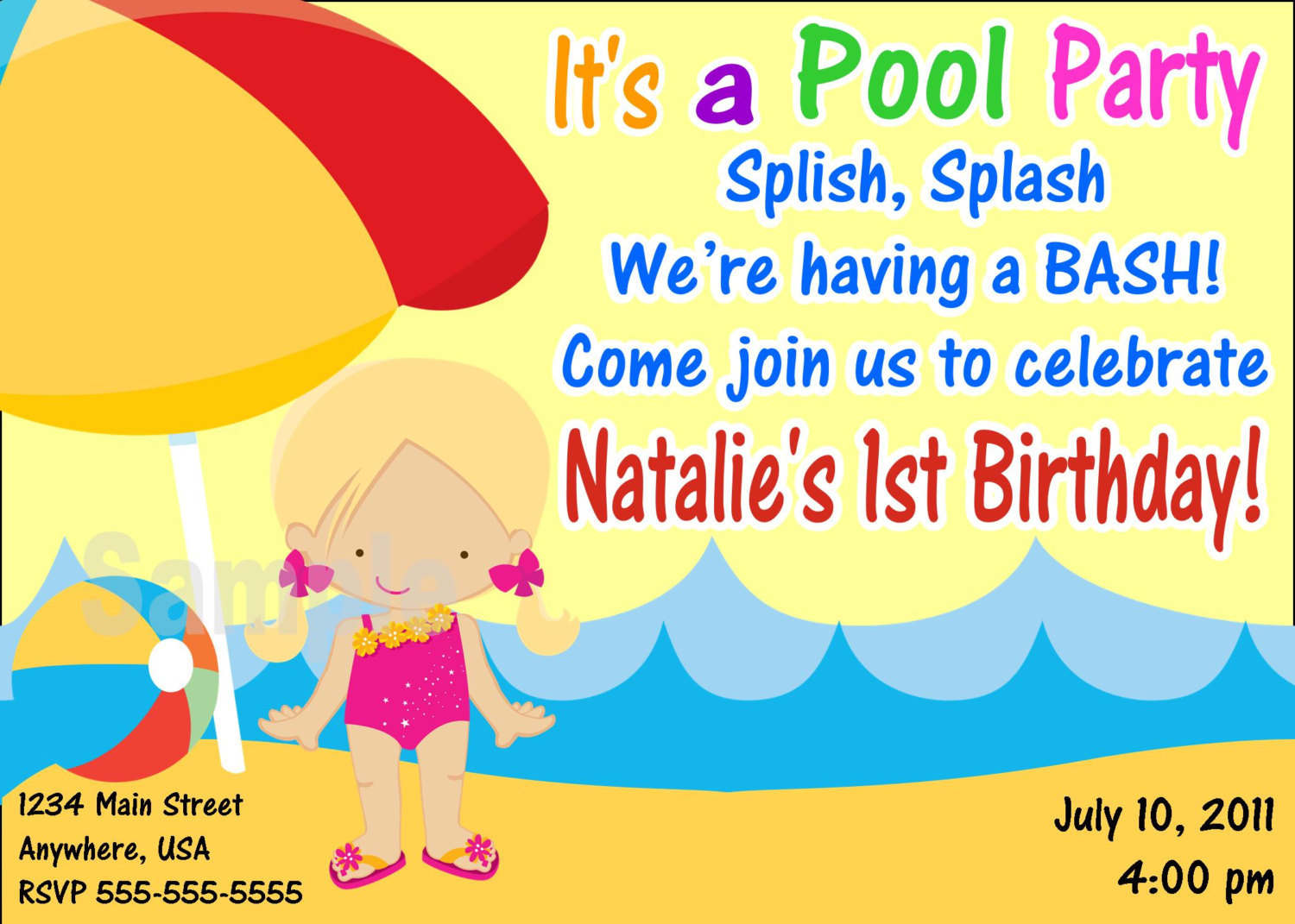 Printable Pool Party Invitations gangcraftnet – Pool Party Invitation Templates Free Printable