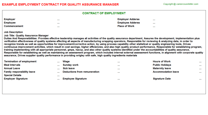 Artist And Repertoire Manager Employment Contracts